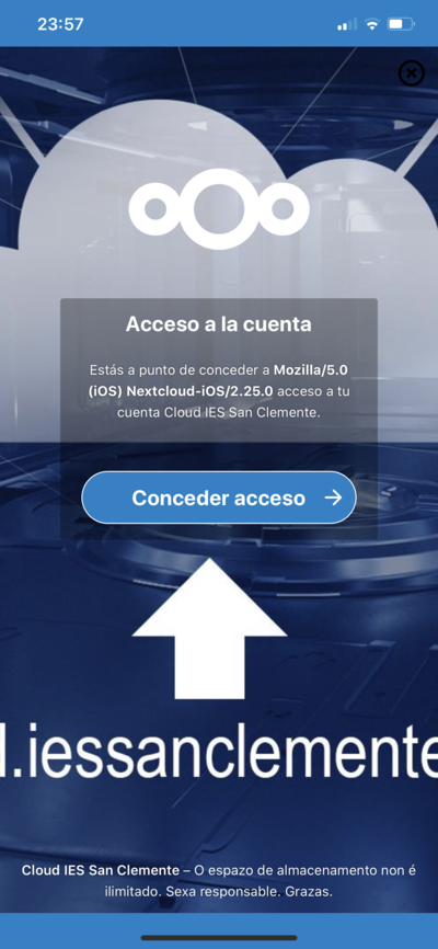 Cloud IES San Clemente App movil Conceder acceso.png